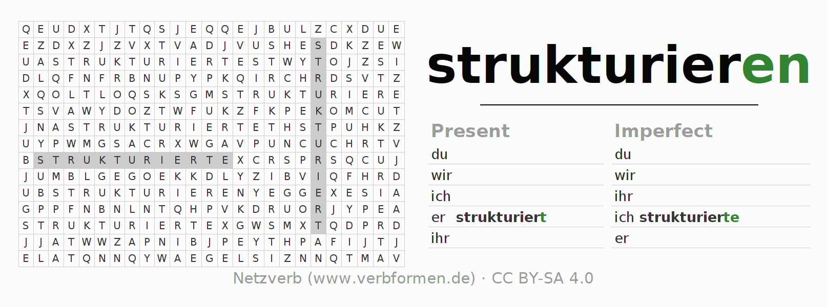 Word search puzzle for the conjugation of the verb strukturieren
