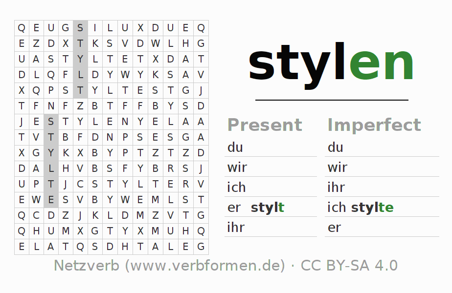 Word search puzzle for the conjugation of the verb stylen