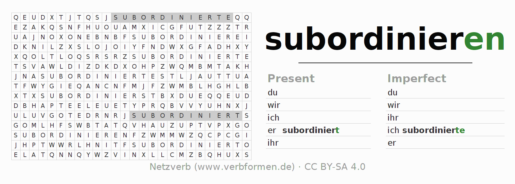 Word search puzzle for the conjugation of the verb subordinieren