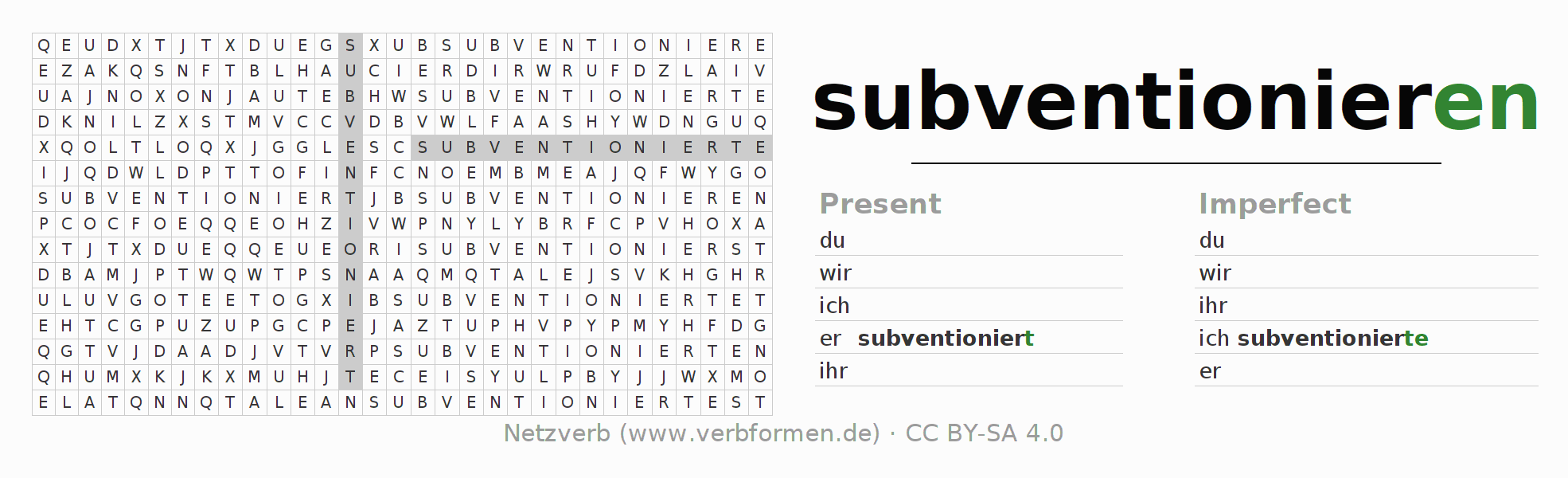 Word search puzzle for the conjugation of the verb subventionieren