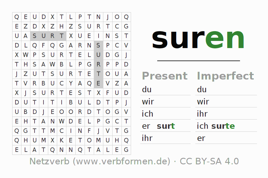 Word search puzzle for the conjugation of the verb suren