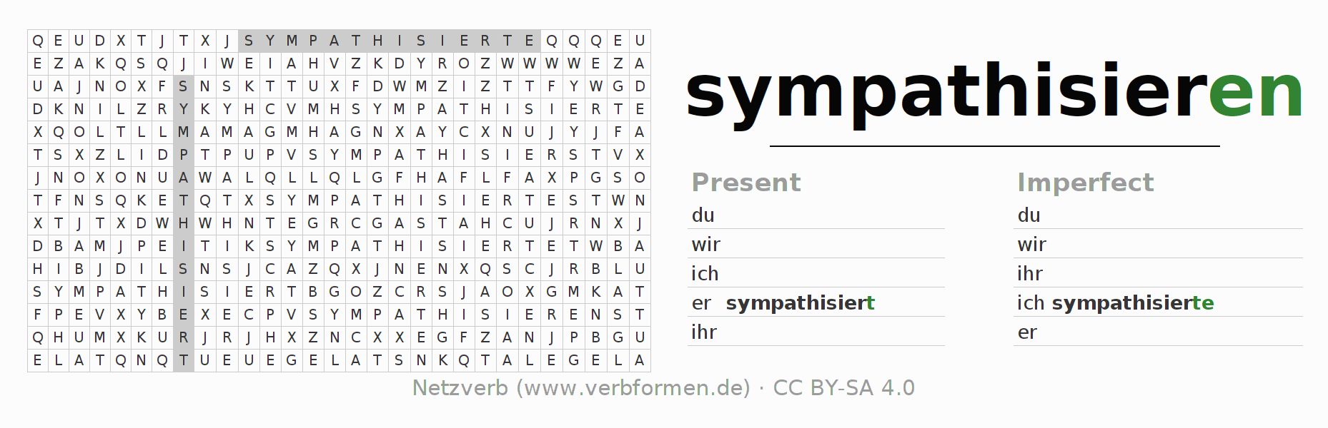 Word search puzzle for the conjugation of the verb sympathisieren