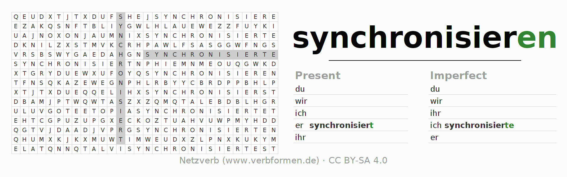Word search puzzle for the conjugation of the verb synchronisieren