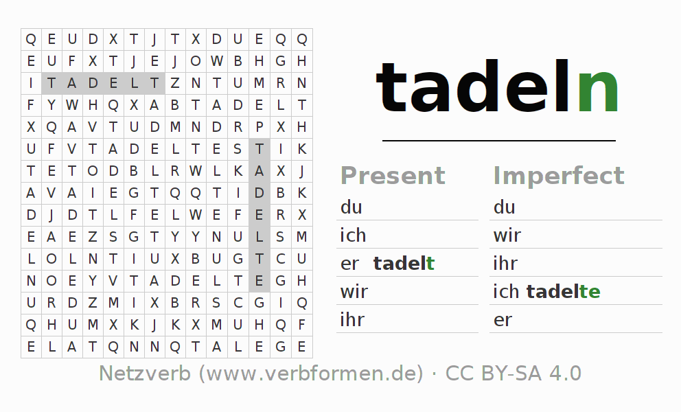 Word search puzzle for the conjugation of the verb tadeln