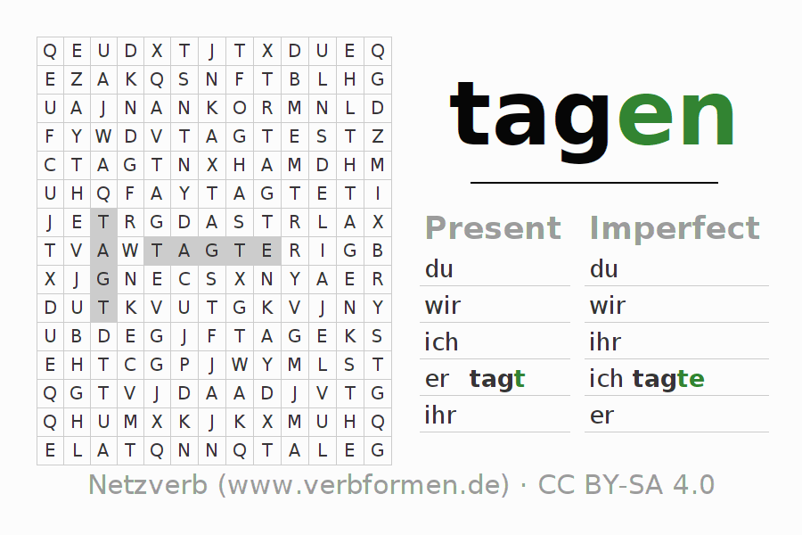 Word search puzzle for the conjugation of the verb tagen
