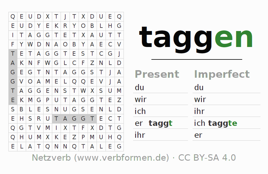 Word search puzzle for the conjugation of the verb taggen