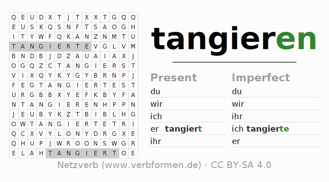 Word search puzzle for the conjugation of the verb tangieren