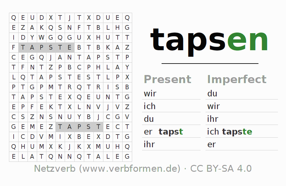 Word search puzzle for the conjugation of the verb tapsen (hat)