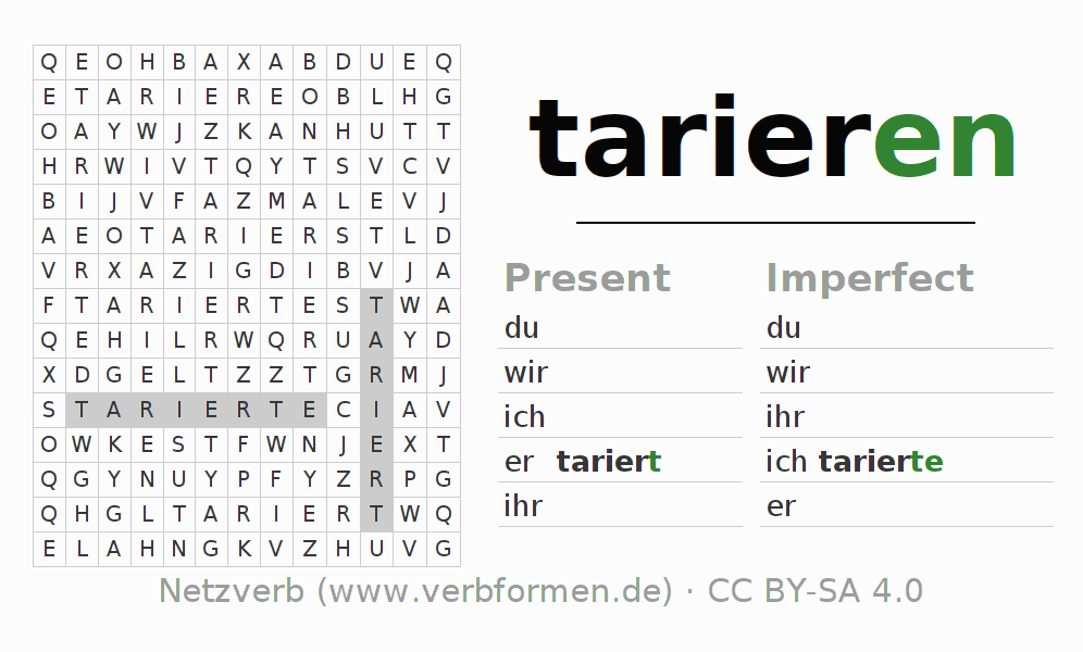 Word search puzzle for the conjugation of the verb tarieren