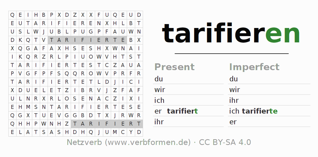 Word search puzzle for the conjugation of the verb tarifieren