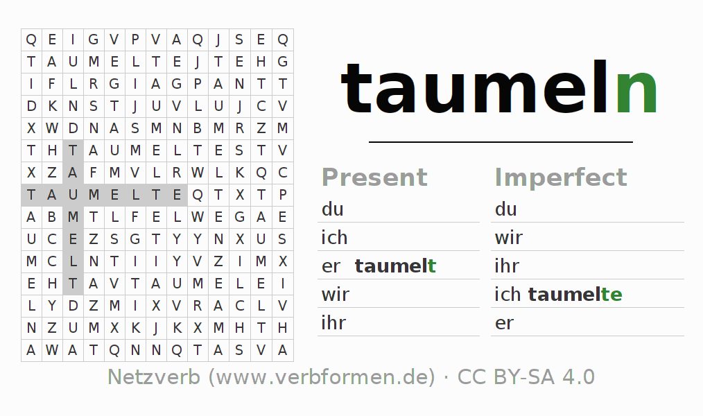 Word search puzzle for the conjugation of the verb taumeln (hat)