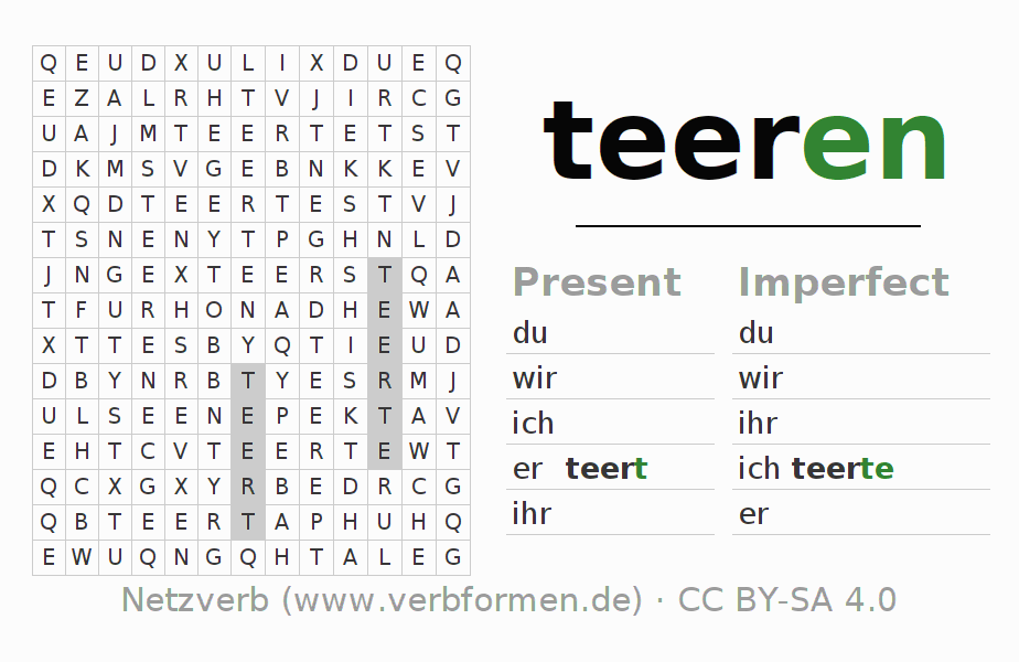 Word search puzzle for the conjugation of the verb teeren