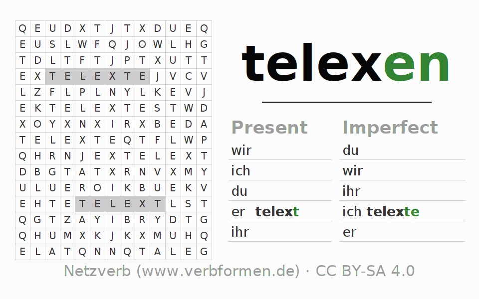 Word search puzzle for the conjugation of the verb telexen