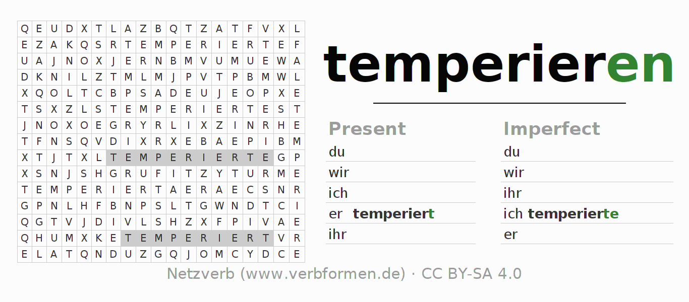 Word search puzzle for the conjugation of the verb temperieren
