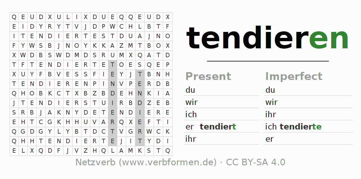 Word search puzzle for the conjugation of the verb tendieren