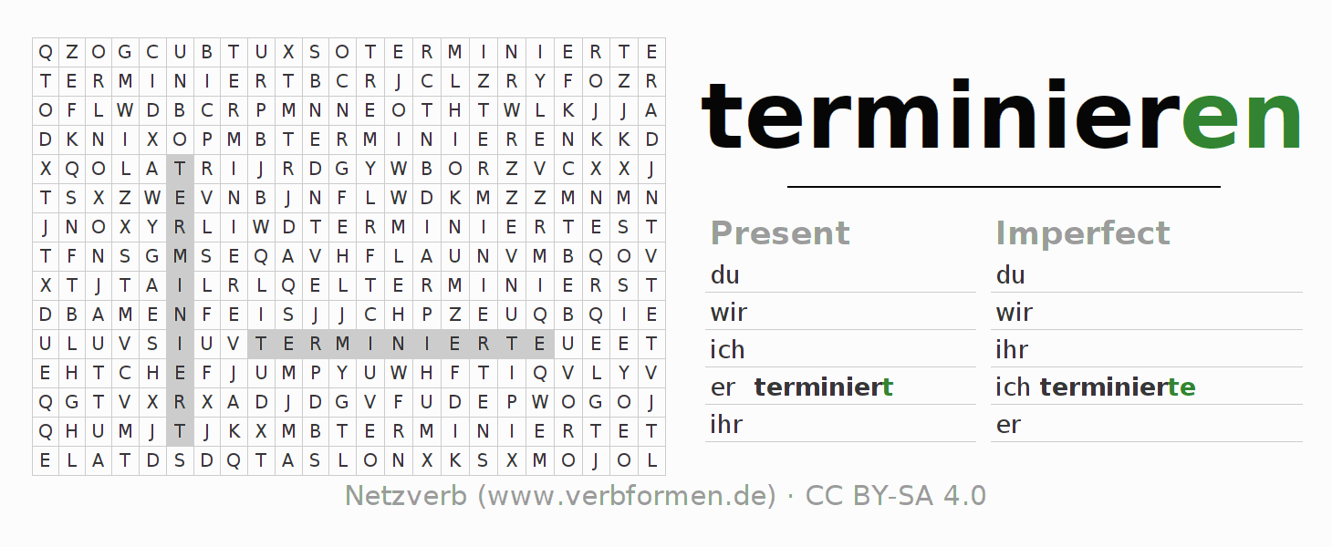 Word search puzzle for the conjugation of the verb terminieren