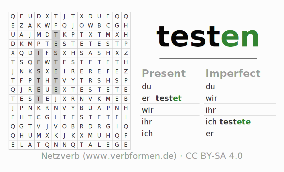 Word search puzzle for the conjugation of the verb testen
