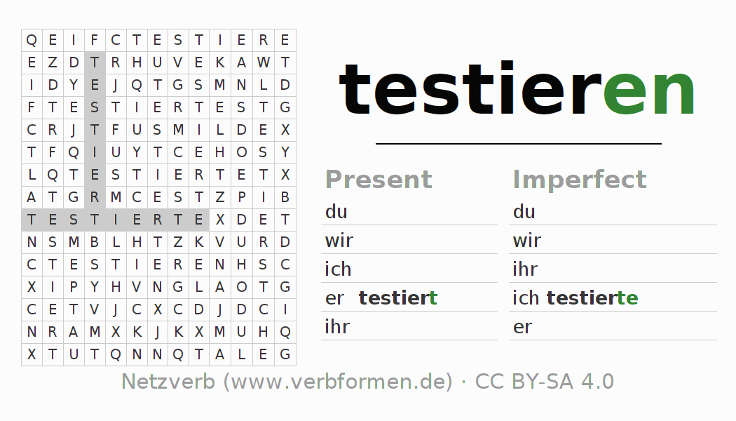 Word search puzzle for the conjugation of the verb testieren