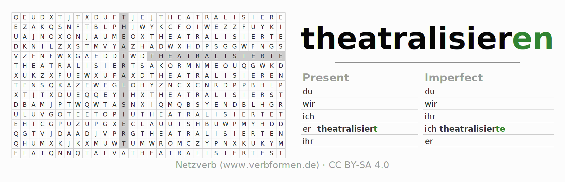 Word search puzzle for the conjugation of the verb theatralisieren