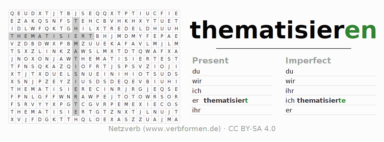 Word search puzzle for the conjugation of the verb thematisieren