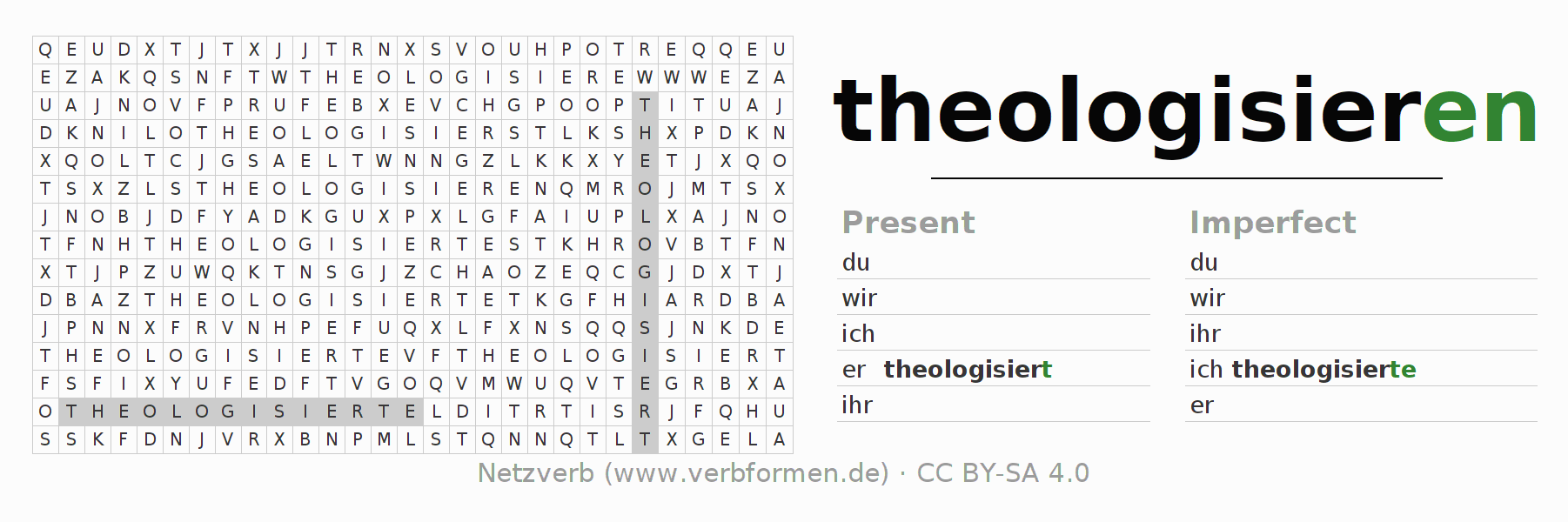 Word search puzzle for the conjugation of the verb theologisieren