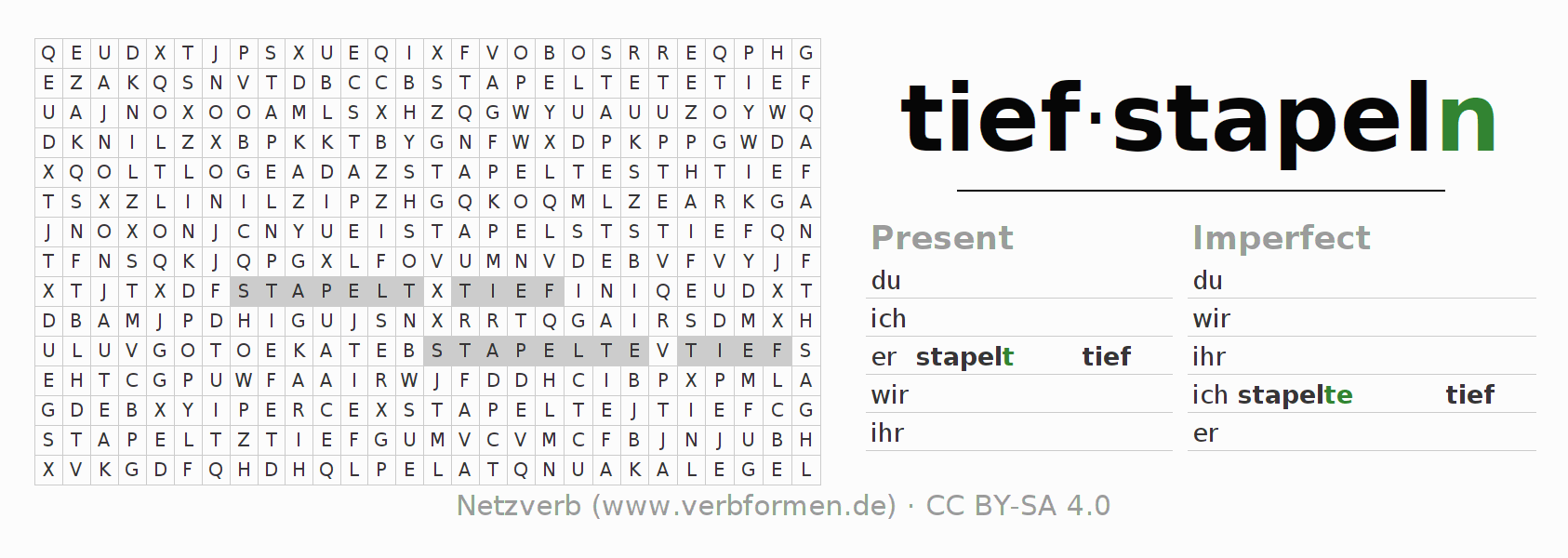 Word search puzzle for the conjugation of the verb tiefstapeln