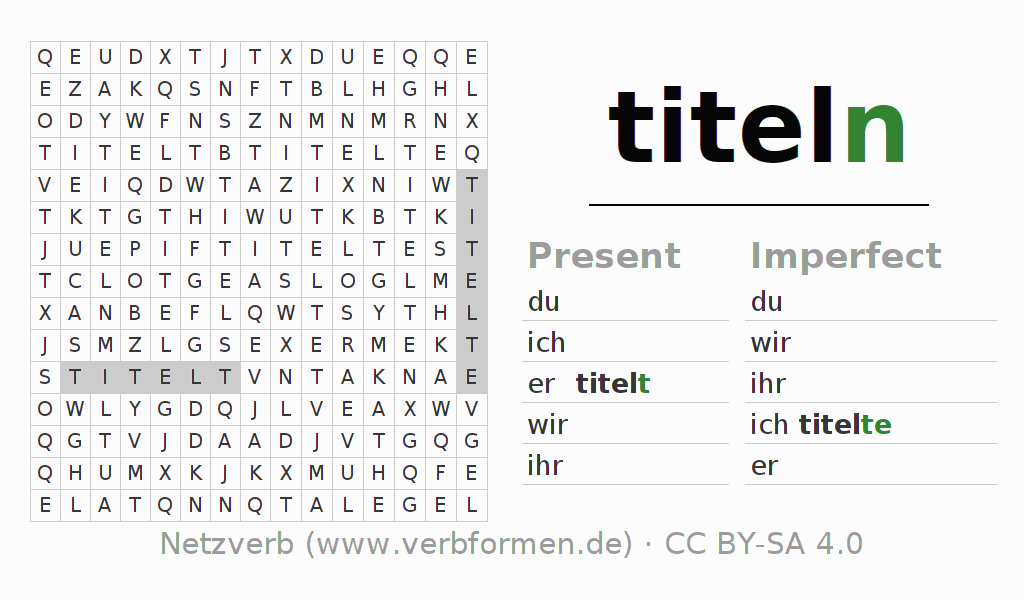 Word search puzzle for the conjugation of the verb titeln