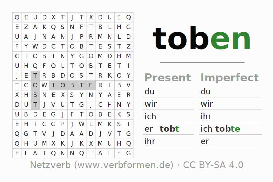 Word search puzzle for the conjugation of the verb toben (hat)