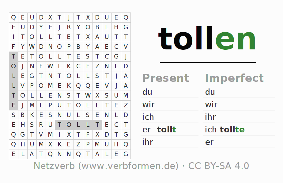 Word search puzzle for the conjugation of the verb tollen (hat)