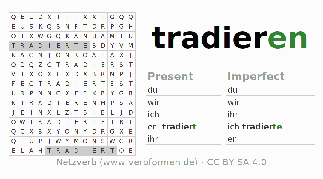 Word search puzzle for the conjugation of the verb tradieren