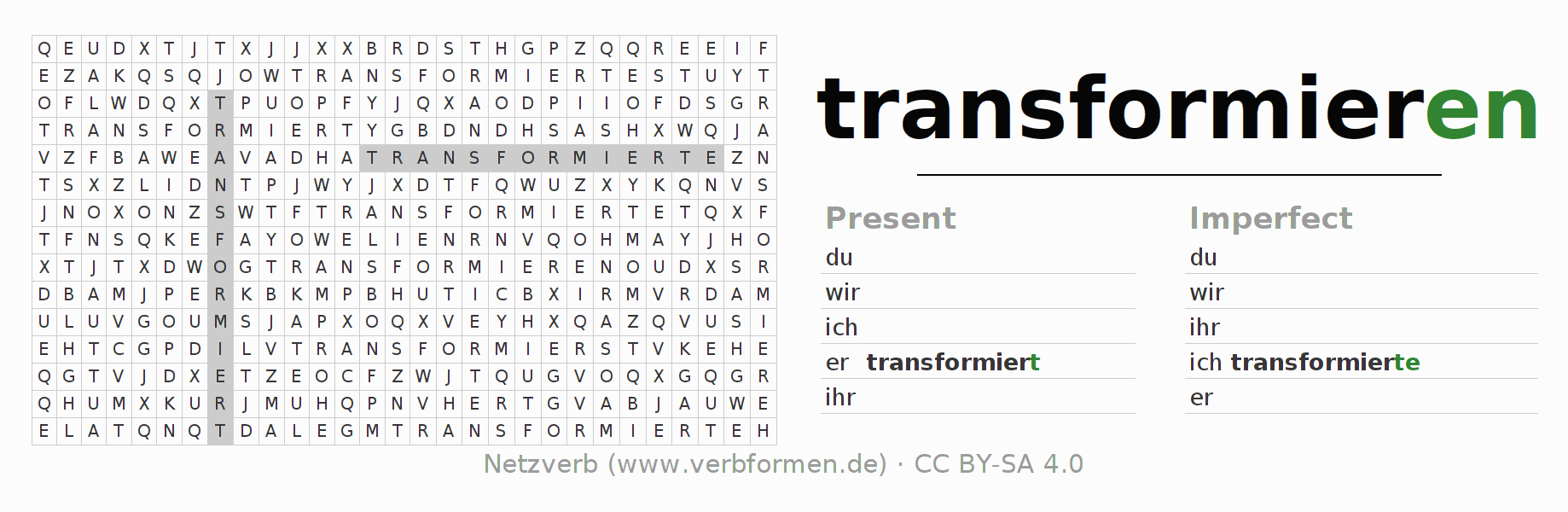 Word search puzzle for the conjugation of the verb transformieren