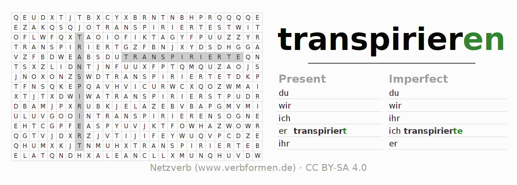 Word search puzzle for the conjugation of the verb transpirieren