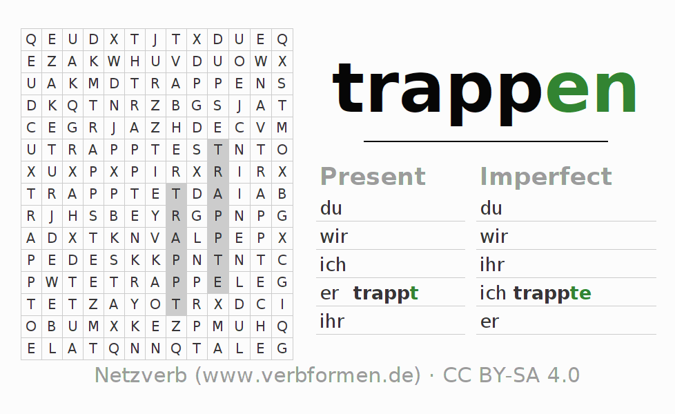 Word search puzzle for the conjugation of the verb trappen
