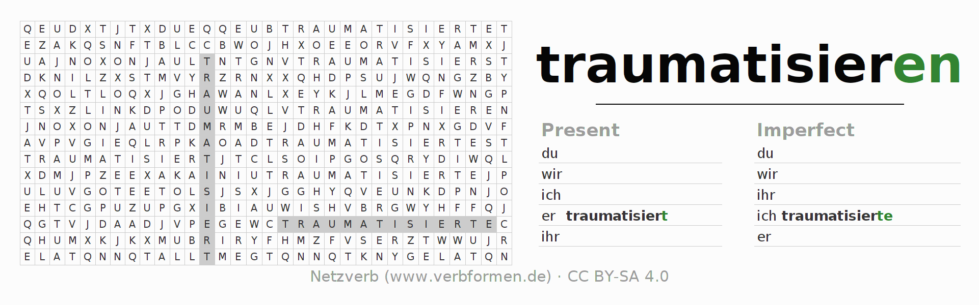 Word search puzzle for the conjugation of the verb traumatisieren