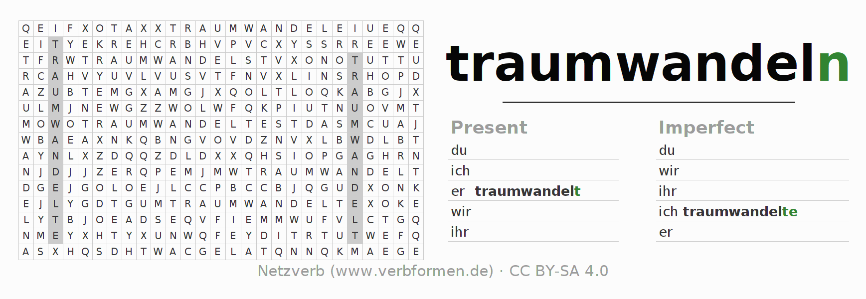 Word search puzzle for the conjugation of the verb traumwandeln (ist)