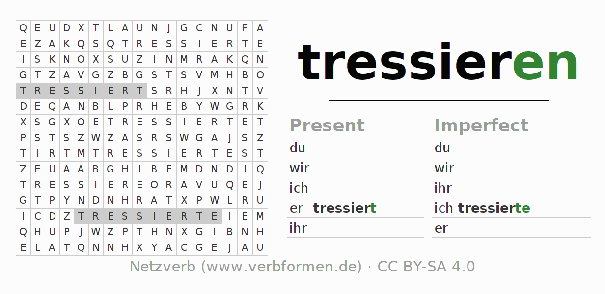 Word search puzzle for the conjugation of the verb tressieren
