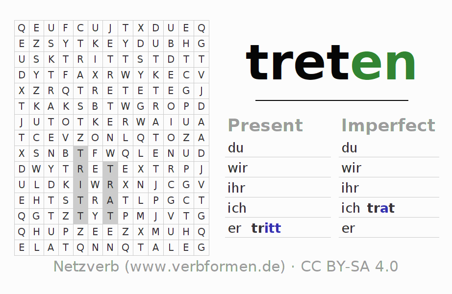 Word search puzzle for the conjugation of the verb treten (hat)