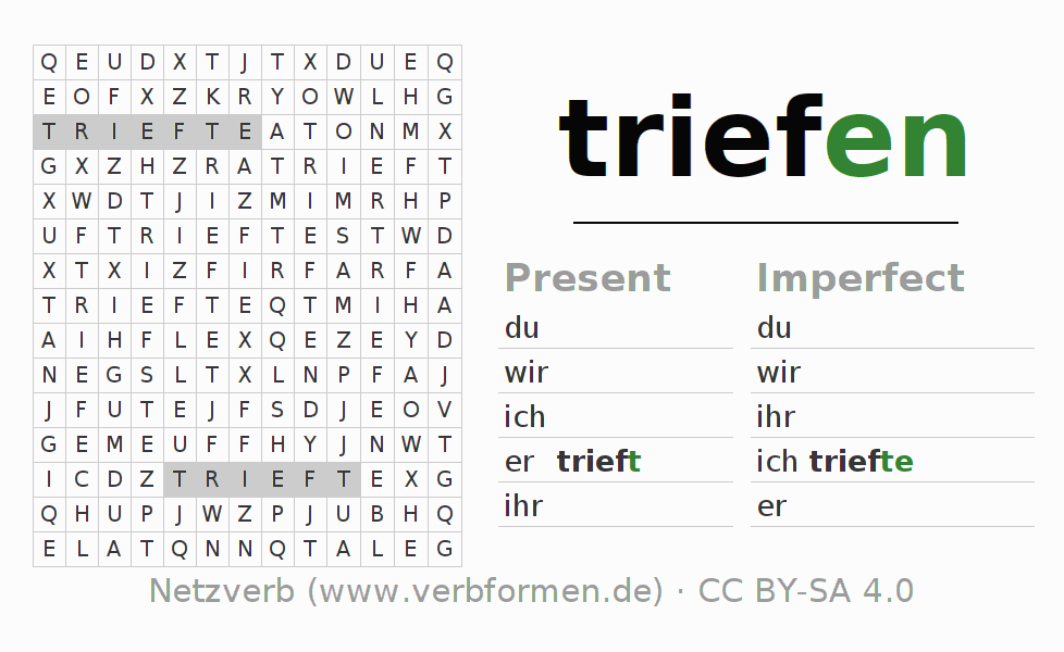 Word search puzzle for the conjugation of the verb triefen (regelm) (hat)