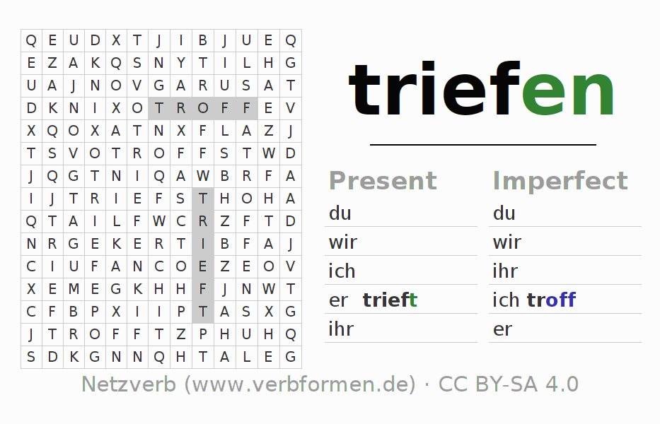 Word search puzzle for the conjugation of the verb triefen (unr) (ist)
