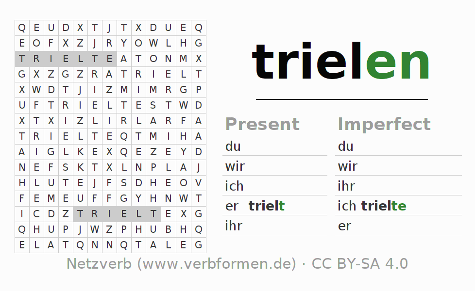 Word search puzzle for the conjugation of the verb trielen