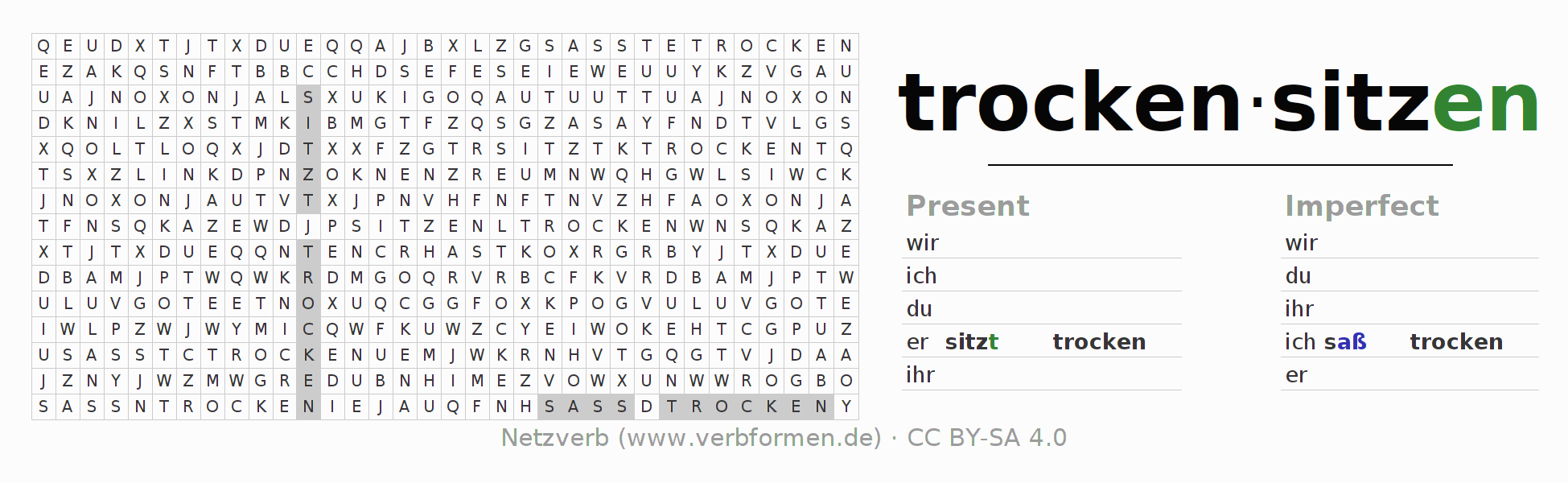 Word search puzzle for the conjugation of the verb trockensitzen (ist)