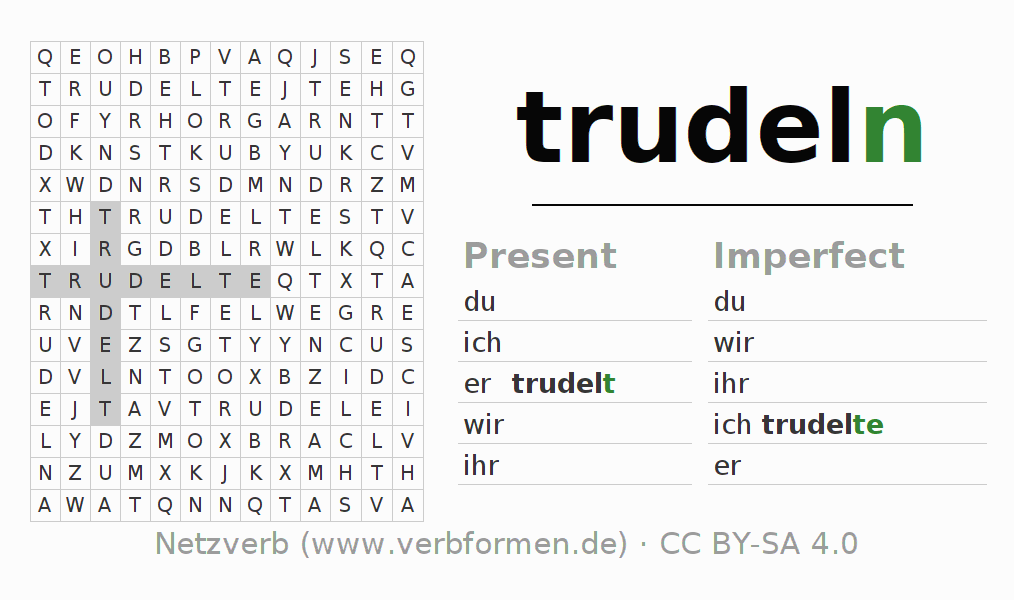 Word search puzzle for the conjugation of the verb trudeln (hat)