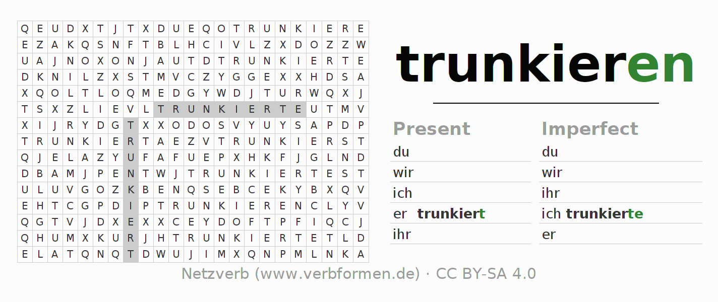 Word search puzzle for the conjugation of the verb trunkieren