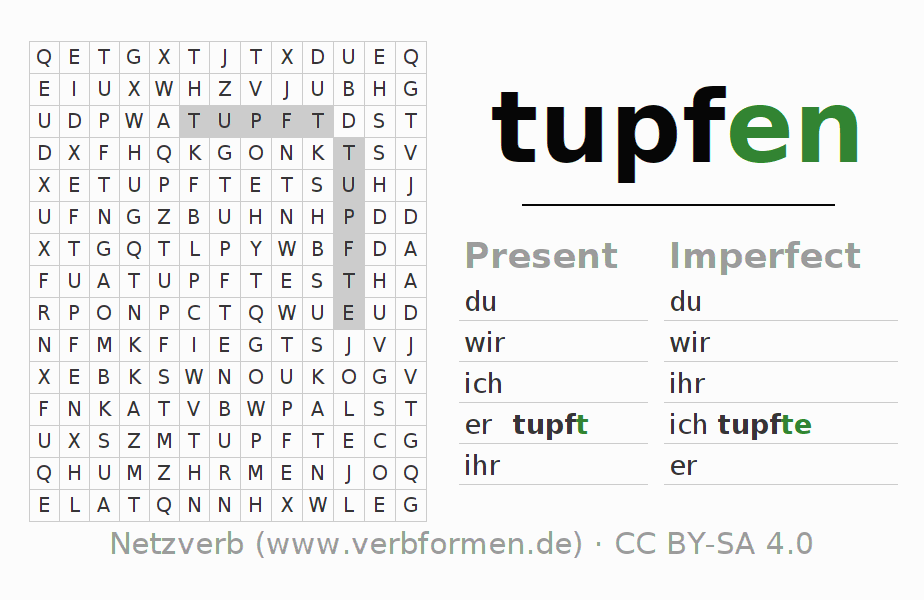 Word search puzzle for the conjugation of the verb tupfen