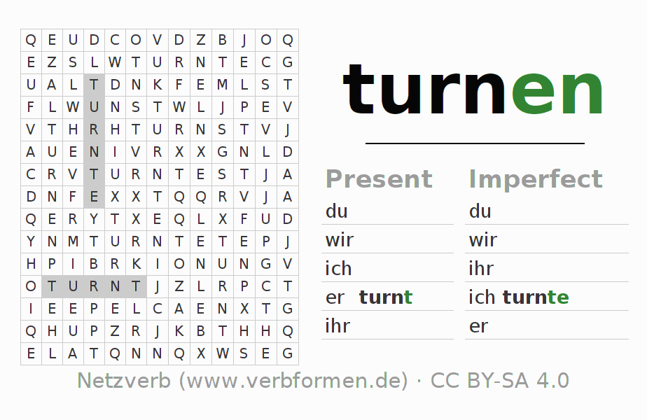 Word search puzzle for the conjugation of the verb turnen (hat)