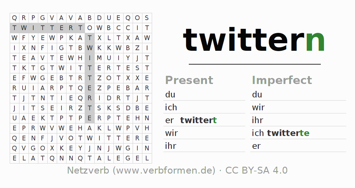 Word search puzzle for the conjugation of the verb twittern
