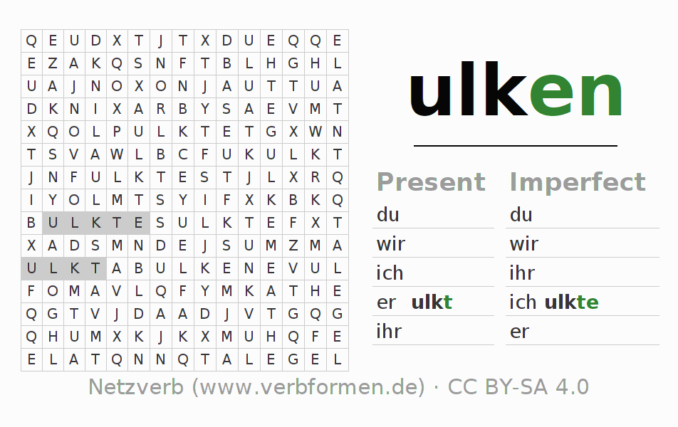 Word search puzzle for the conjugation of the verb ulken