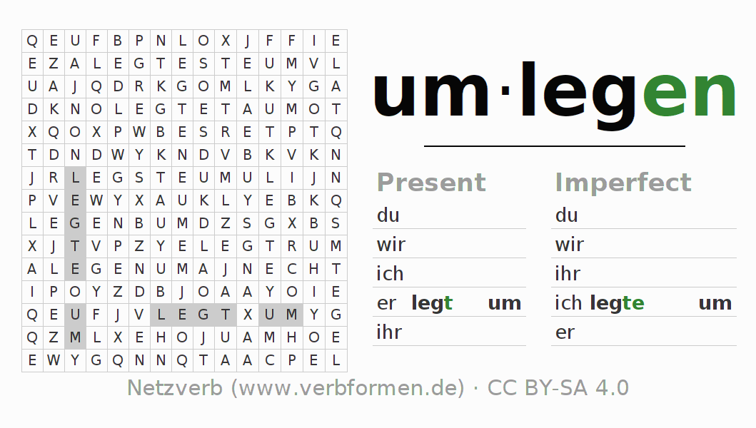 Word search puzzle for the conjugation of the verb um-legen