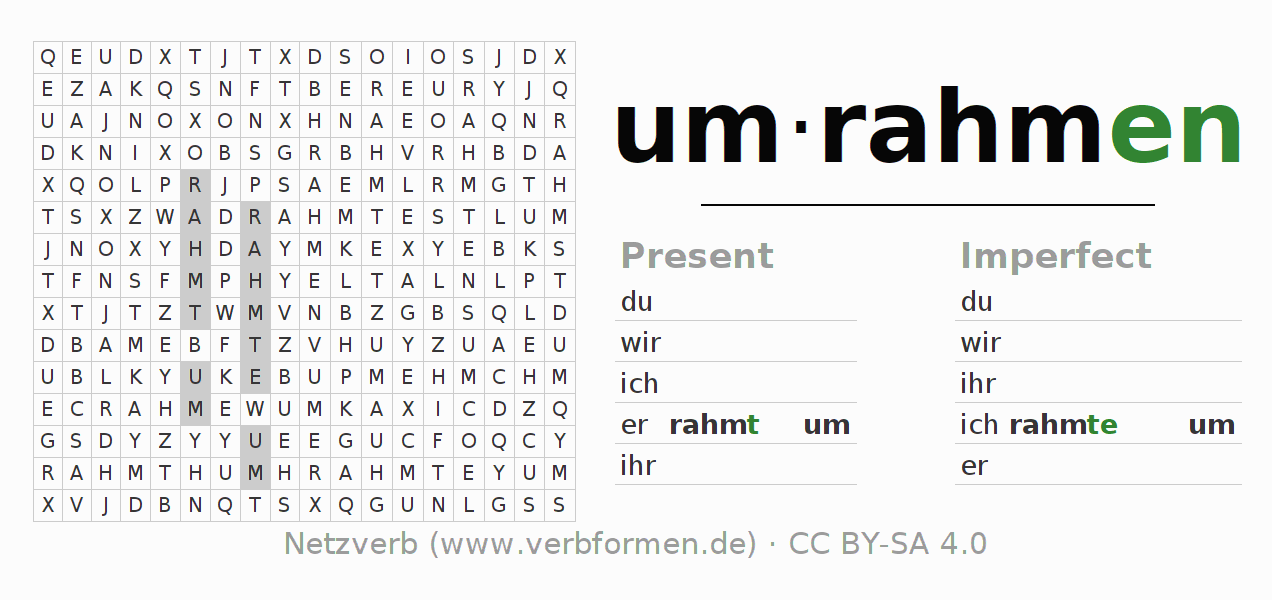 Word search puzzle for the conjugation of the verb um-rahmen