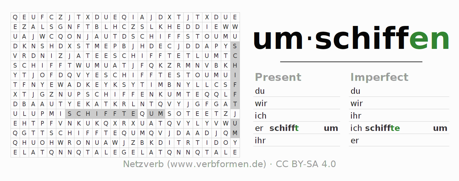 Word search puzzle for the conjugation of the verb um-schiffen